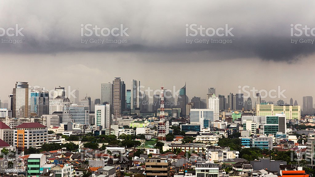 Thunderstorms over the Capital city of Indonesia stock photo