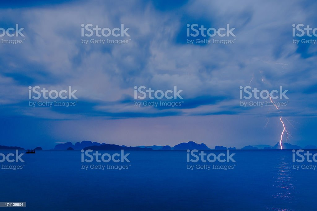 Thunderstrom at Phang Nga Nationalpark royalty-free stock photo