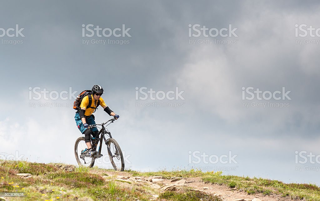 Thundery mountainbiking in the Carinthian Mountains, Austria stock photo