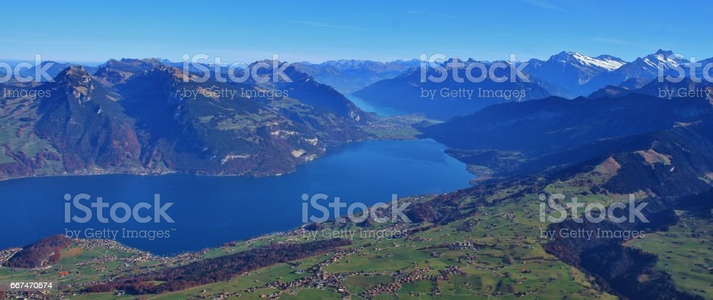 Thunersee and mountains in the Bernese Oberland stock photo
