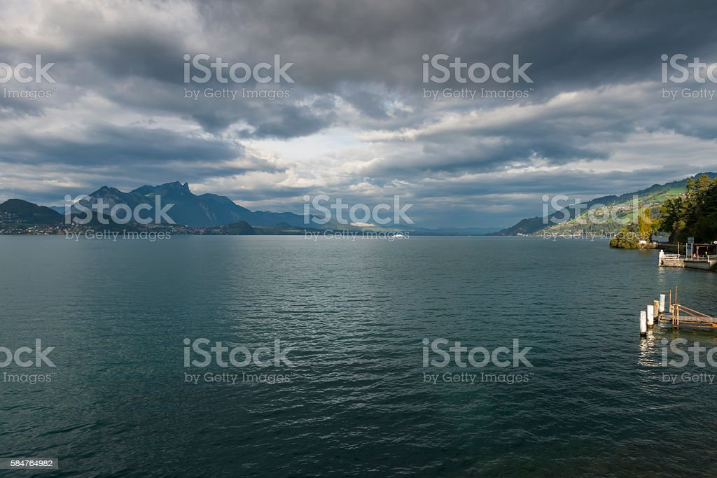 Thunersee with ship stock photo