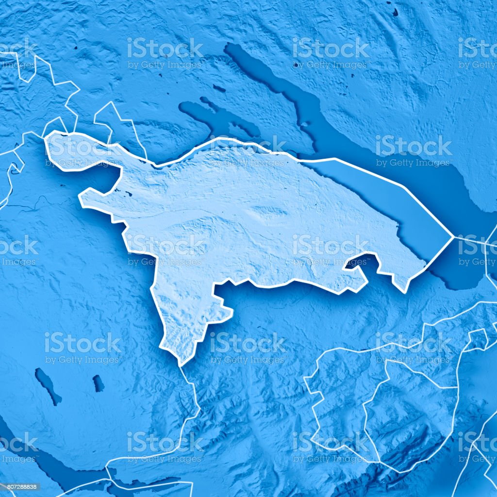 Thurgau Canton Switzerland 3D Render Topographic Map Blue Border stock photo