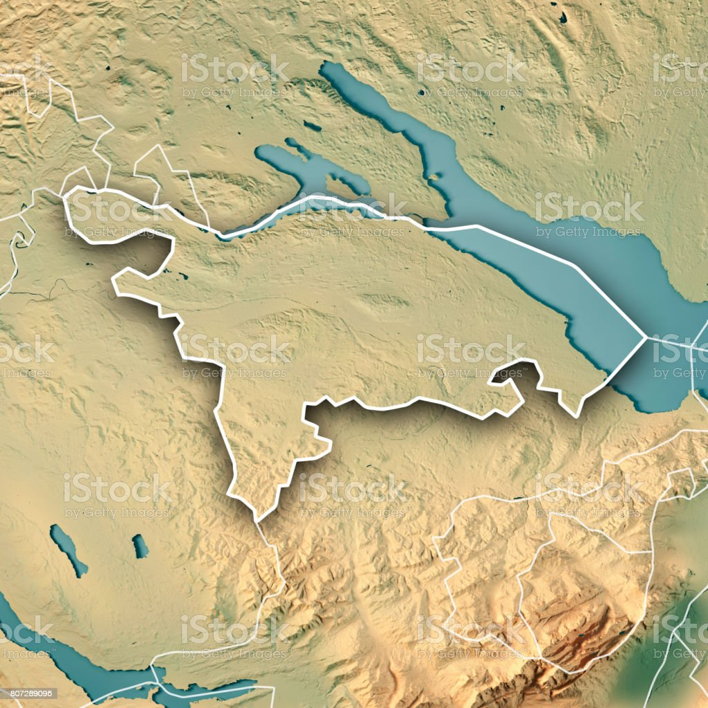 Thurgau Canton Switzerland 3D Render Topographic Map Border stock photo