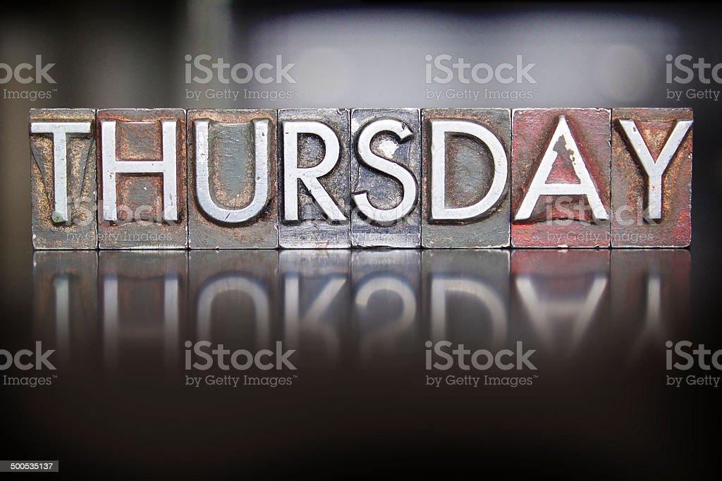 Thursday Letterpress stock photo