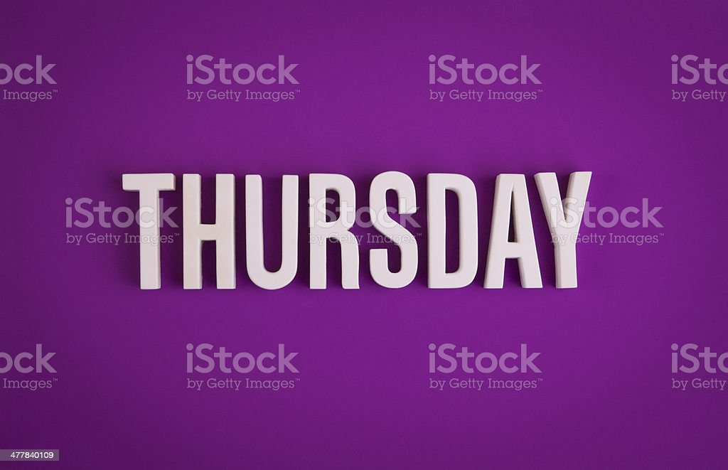 Thursday sign lettering royalty-free stock photo