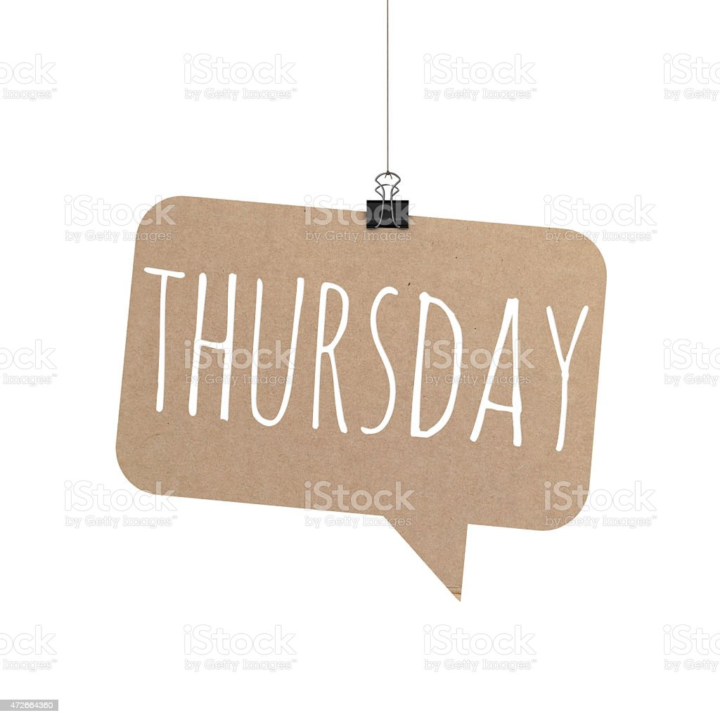Thursday speech bubble hanging on a string stock photo