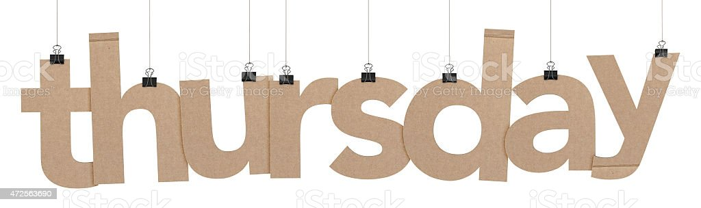 thursday word hanging on strings stock photo