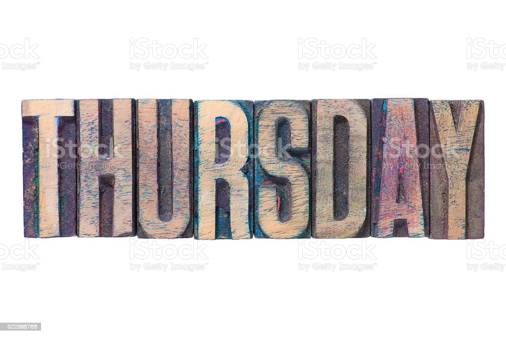 Thursday word isol stock photo