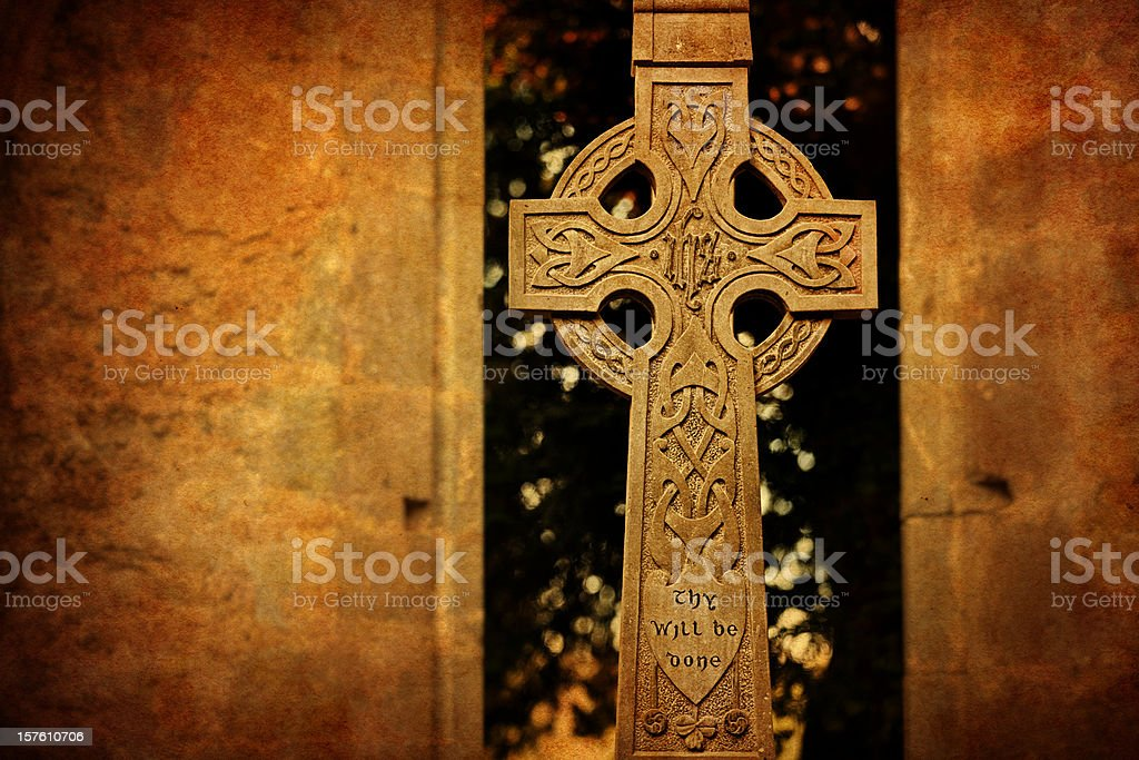 Thy will be done on celtic cross stock photo