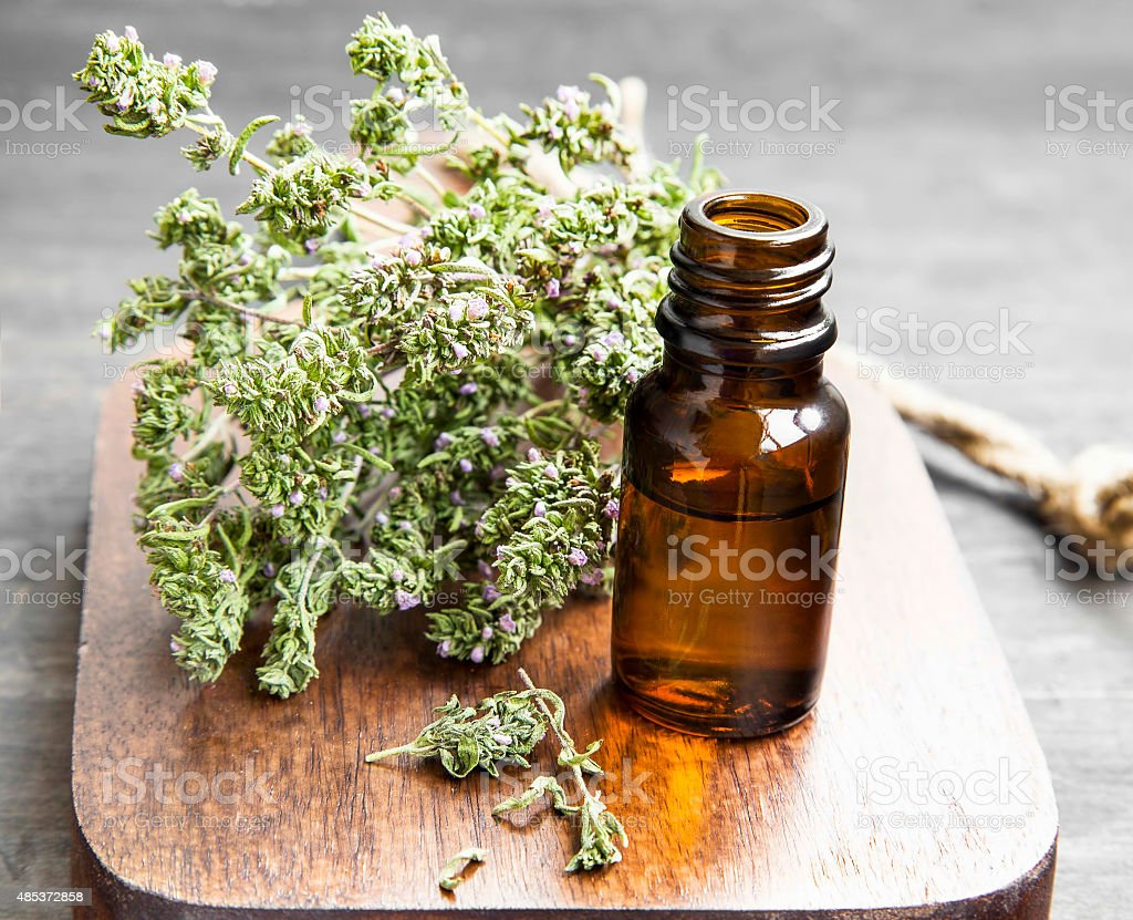 Thyme Essential Oil Bottle stock photo