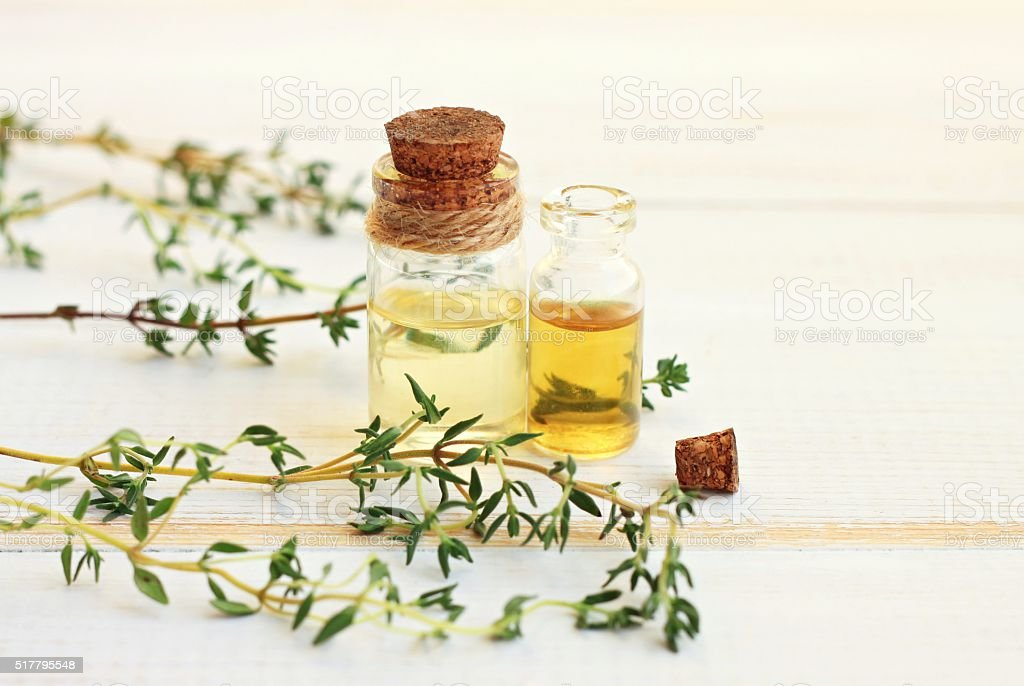 Thyme essential oil stock photo