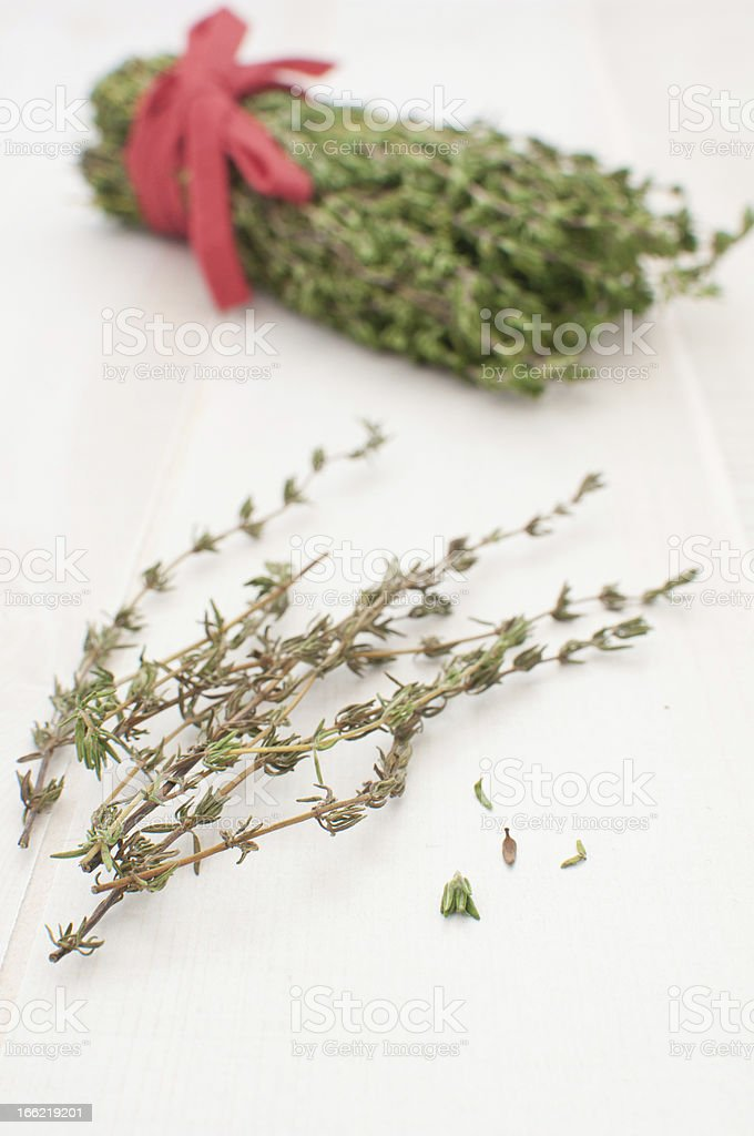 Thyme herb leaves and bunch stock photo