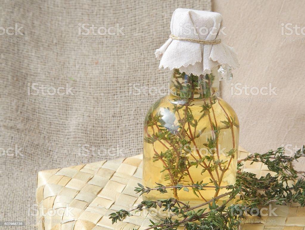 Thyme vinegar stock photo