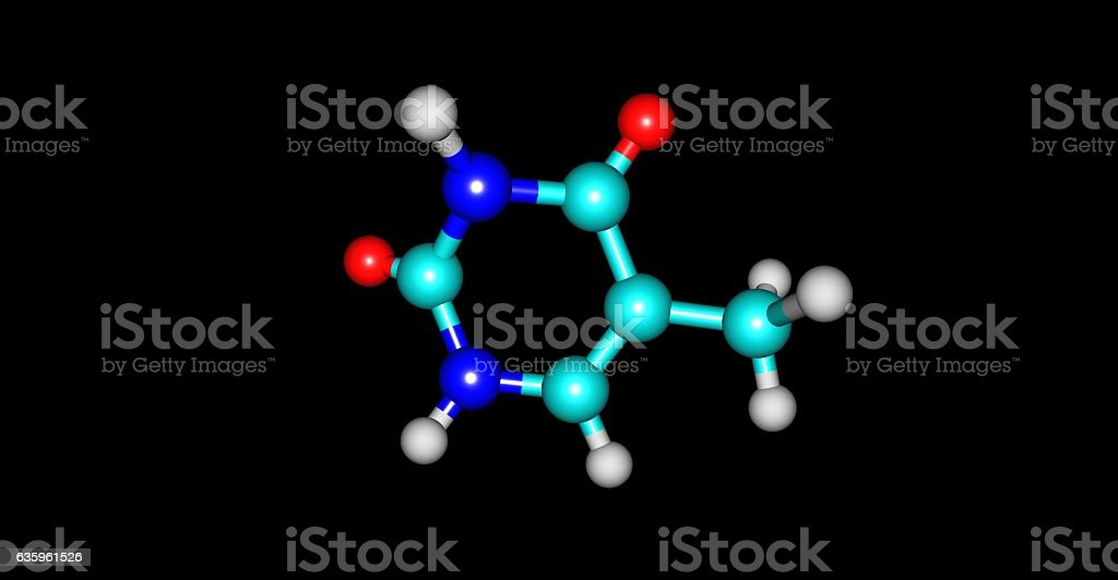Thymine molecular structure isolated on black stock photo