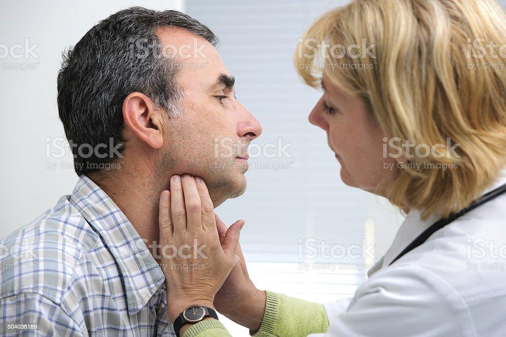 thyroid function examination stock photo