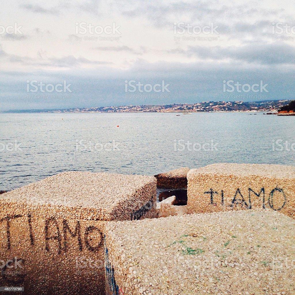 Ti amo - I love you - Romantic Italian graffiti stock photo