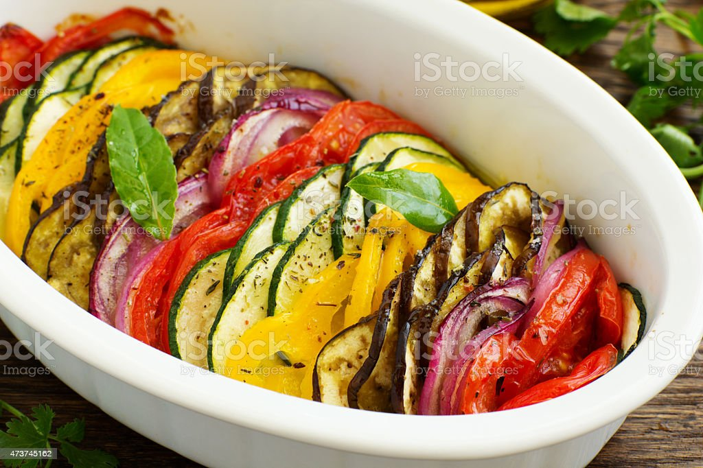 Tian (vegetable casserole) of the five kinds of vegetables. stock photo