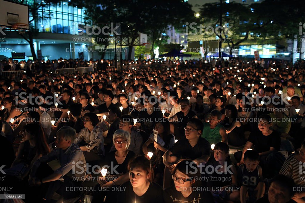Tiananmen square 25th anniversary vigil candle light in Hong kong stock photo