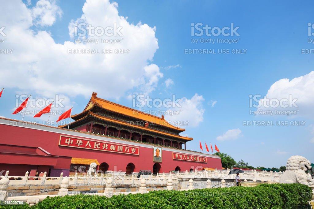 Tiananmen Square and Tiananmen Gate in Beijing,China. stock photo