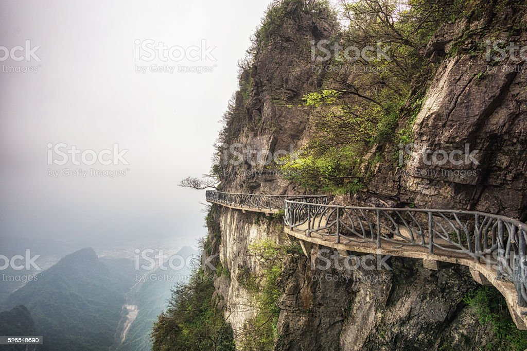 tianmen mountain landscape and viewpoint stock photo