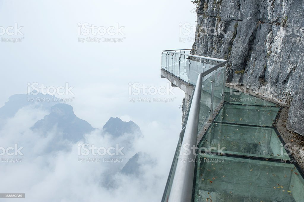 Tianmen mountain stairs in Hunan, China stock photo