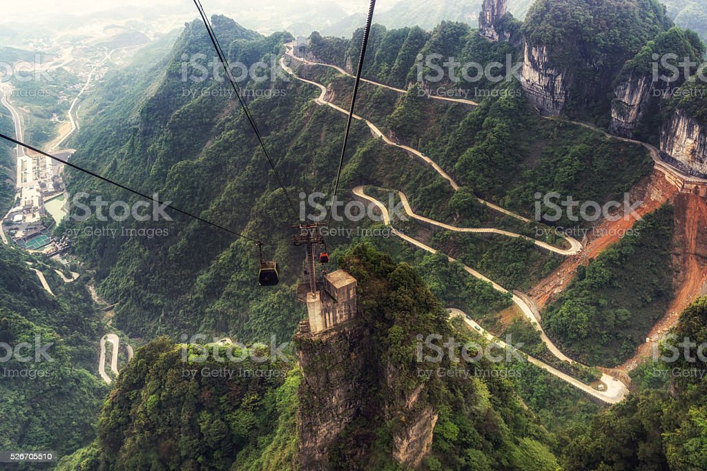 tianmen mountain winding road stock photo