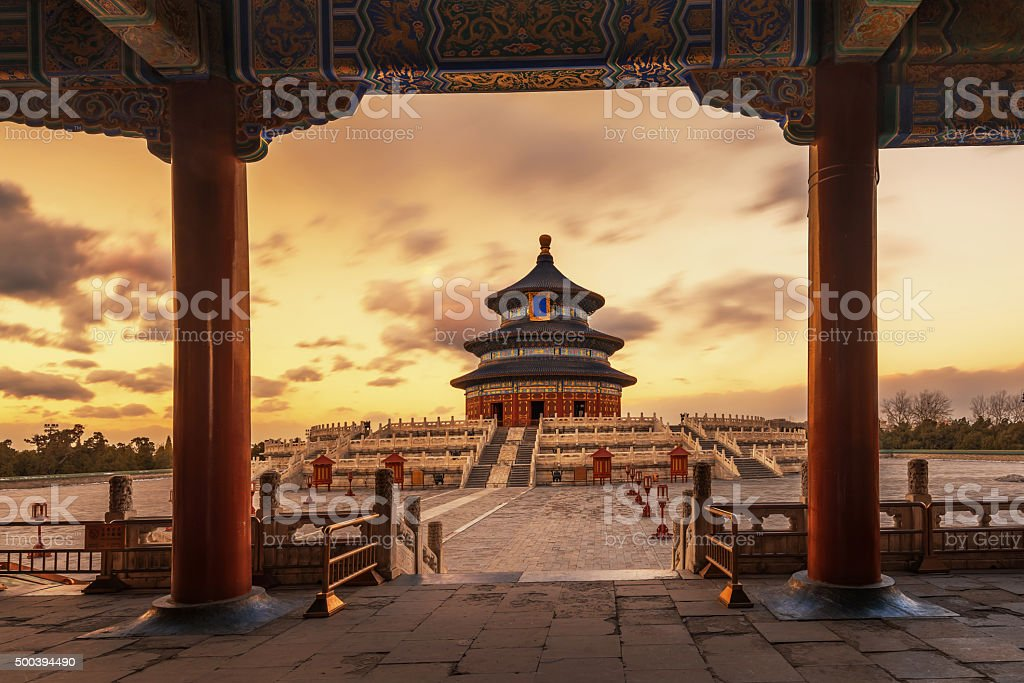 Tiantan under the setting sun stock photo