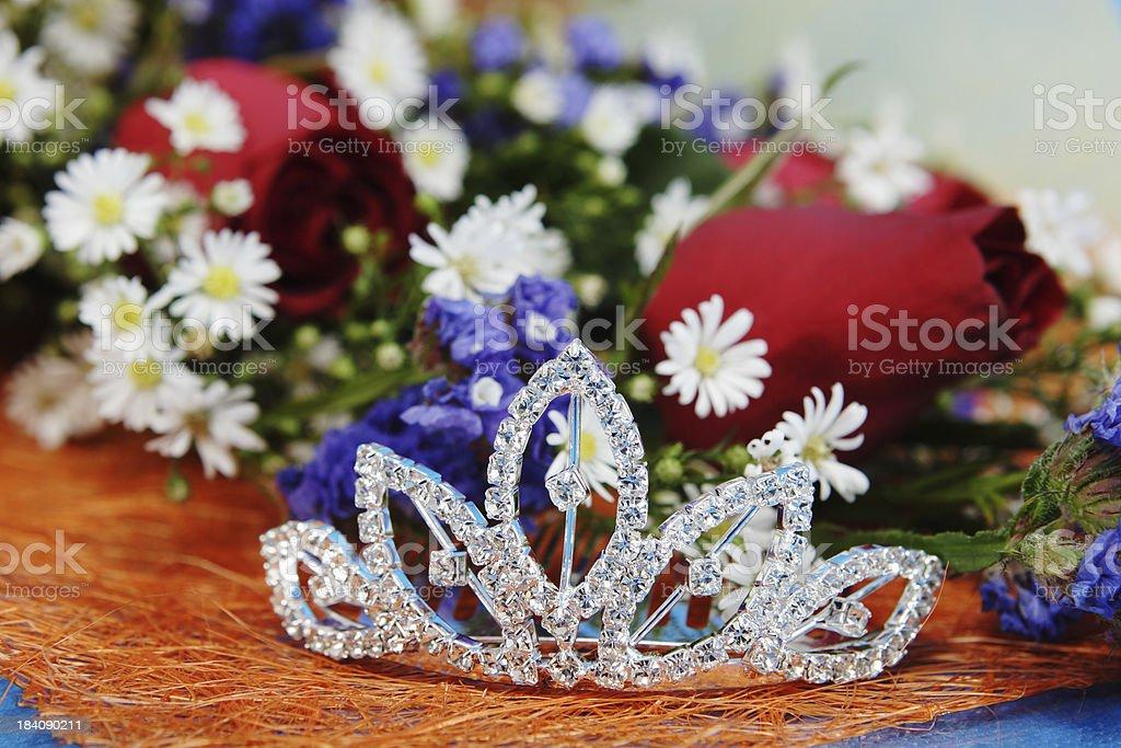 tiara and flowers stock photo