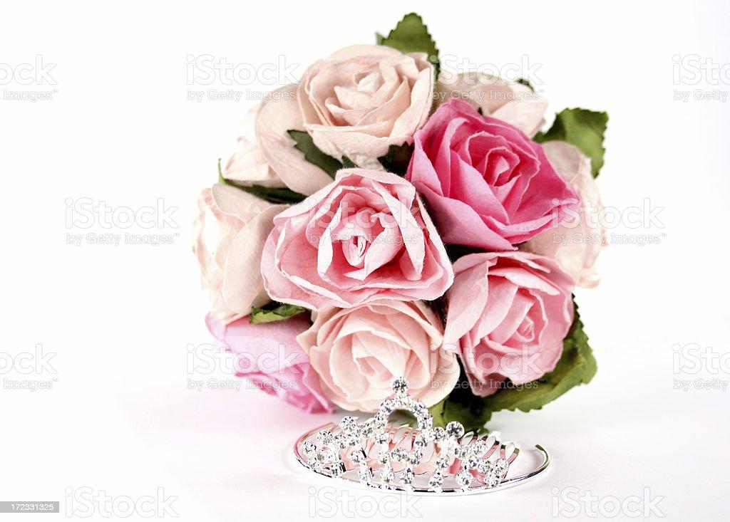 tiara and pink roses royalty-free stock photo
