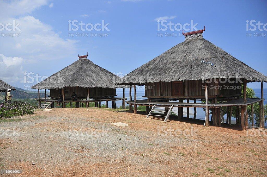 Tibar bay, East Timor: traditional timorese houses stock photo