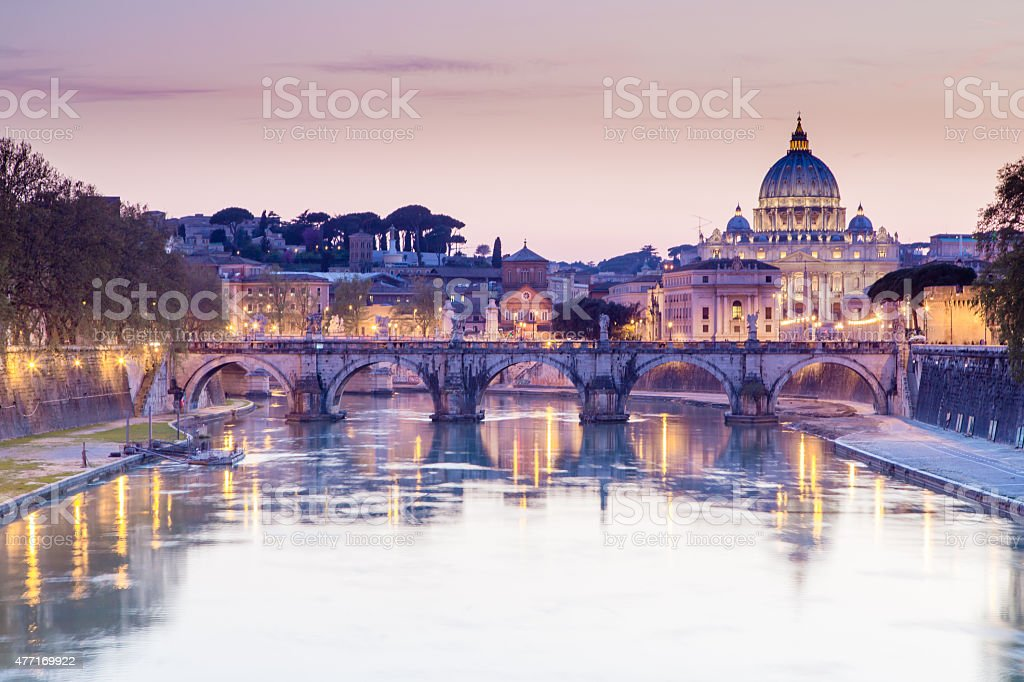 Tiber and St Peter Basilica in Vatican, Rome stock photo
