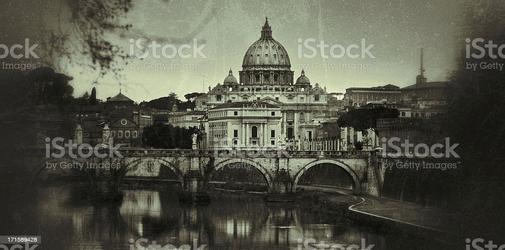 Tiber River and Saint Peter Basilica in Vatican, Rome stock photo