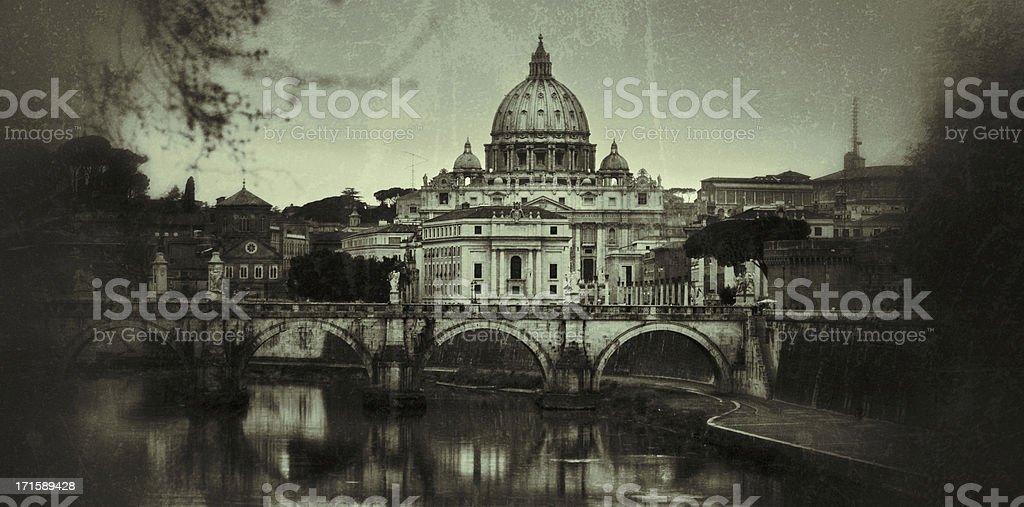 Tiber River and Saint Peter Basilica in Vatican, Rome stock photo