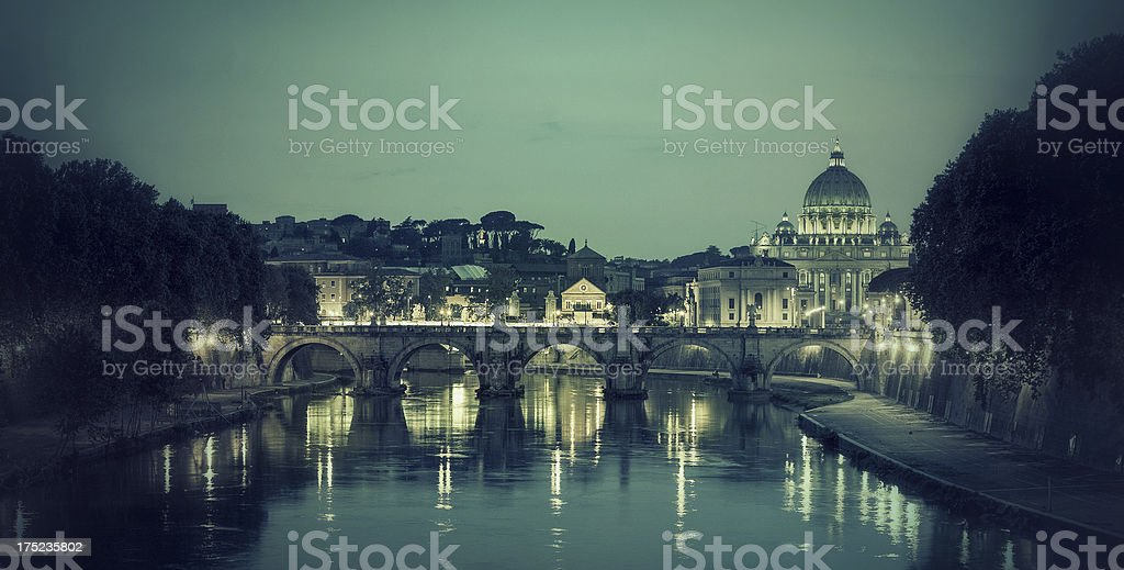 'Tiber River and Saint Peter Basilica in Vatican, Rome' stock photo