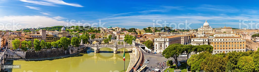Tiber river and St. Peter Basilica in Rome stock photo