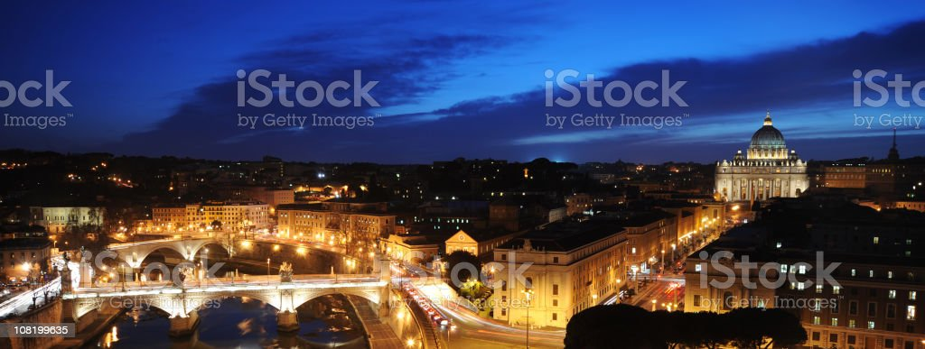 Tiber River and Vatican City at Night royalty-free stock photo
