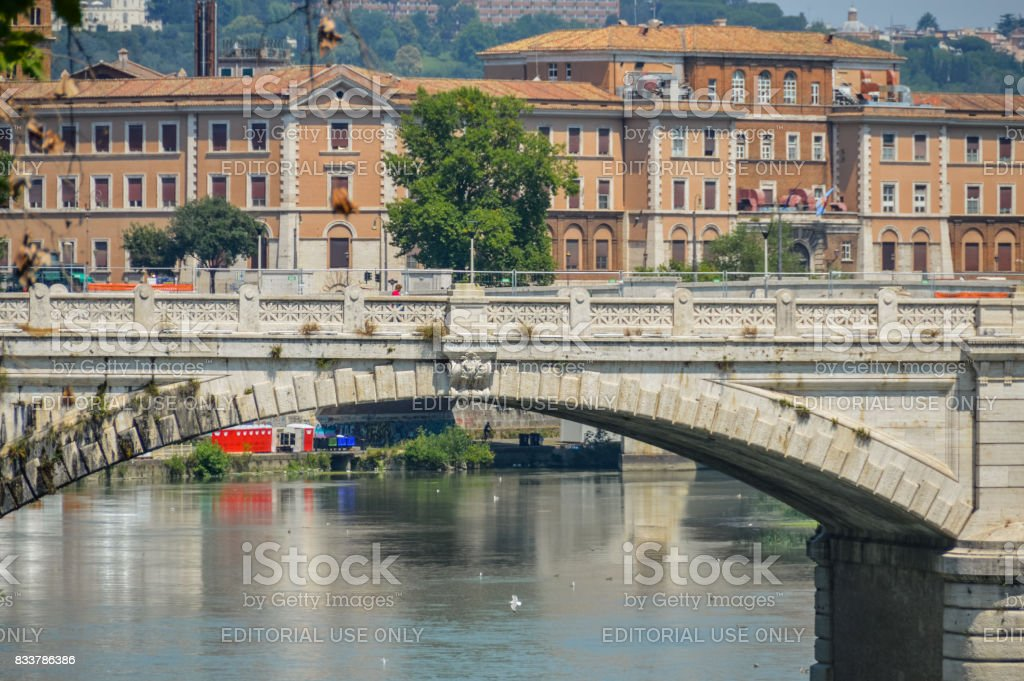 Tiber River and view of Rome, Italy stock photo