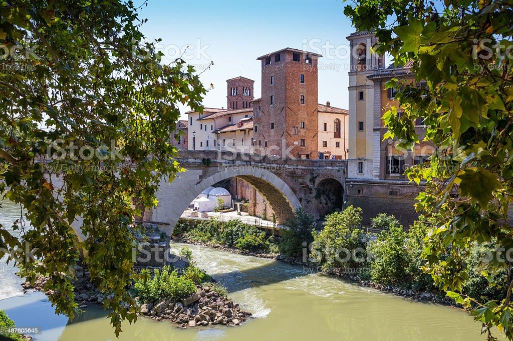 Tiber river in Rome, Italy stock photo