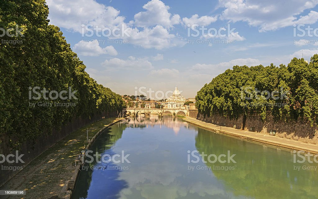 Tiber river leading to St. Peter's Basilica in the background royalty-free stock photo