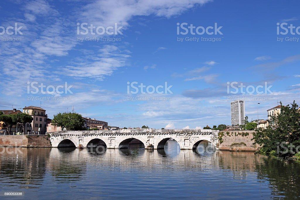 Tiberius bridge landmark Rimini Italy stock photo
