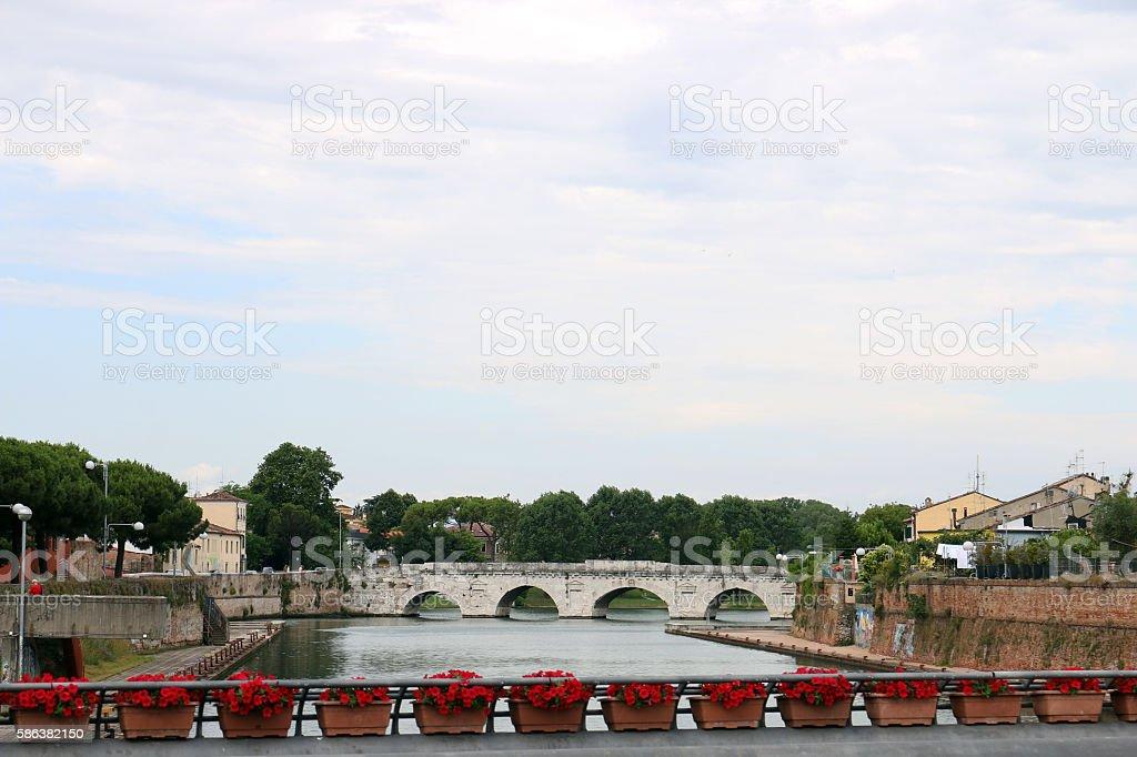 Tiberius bridge Rimini cityscape Italy stock photo