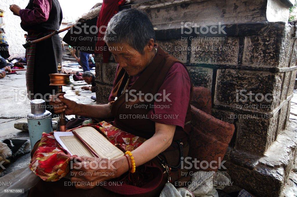 Tibet believer in prayer stock photo