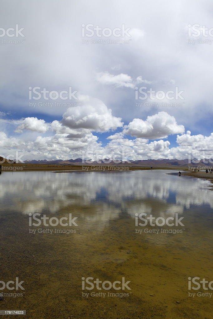 tibet lake stock photo