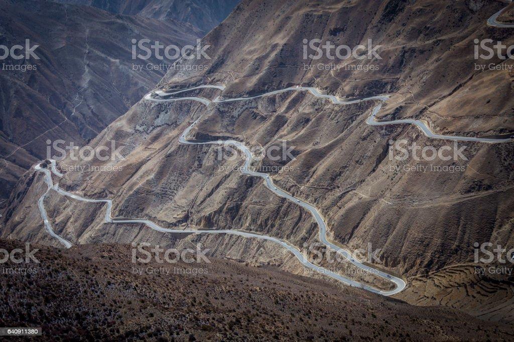 Tibet mountain road, turn 72 stock photo