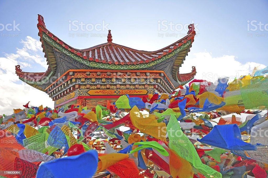 Tibet Pavilion and aflutter buddhist praying flag royalty-free stock photo