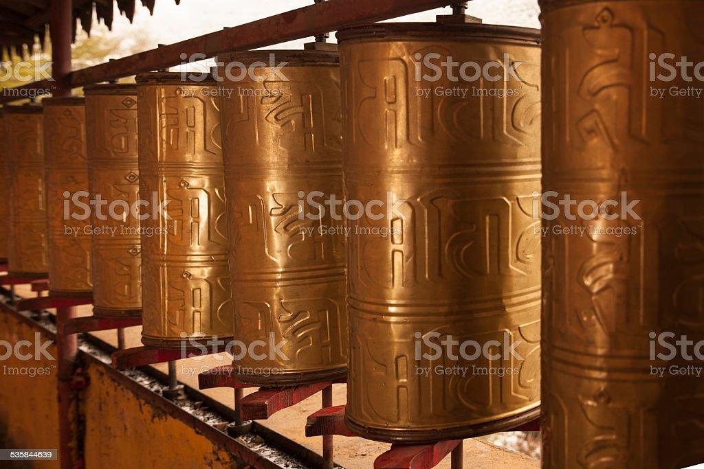 Tibet prayer drums stock photo