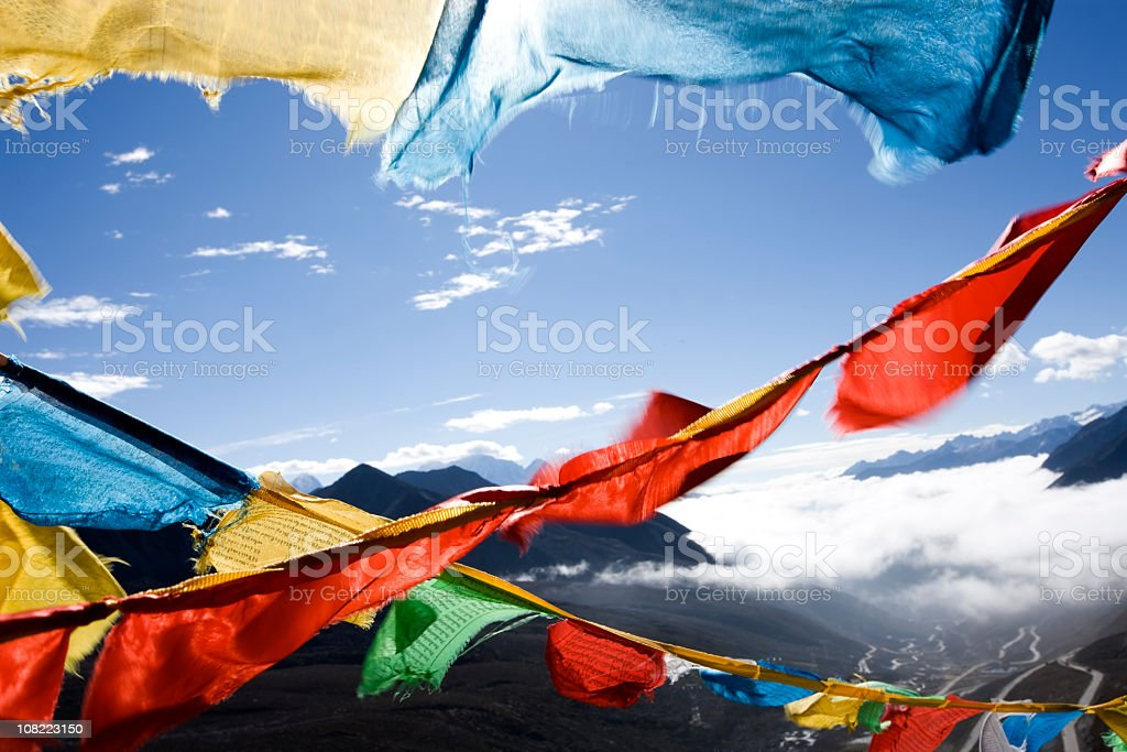 Tibet Prayer Flags royalty-free stock photo