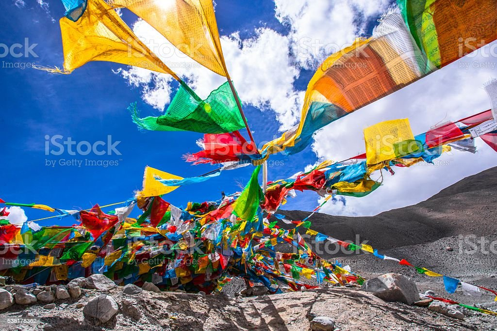 Tibet Prayer Flags stock photo