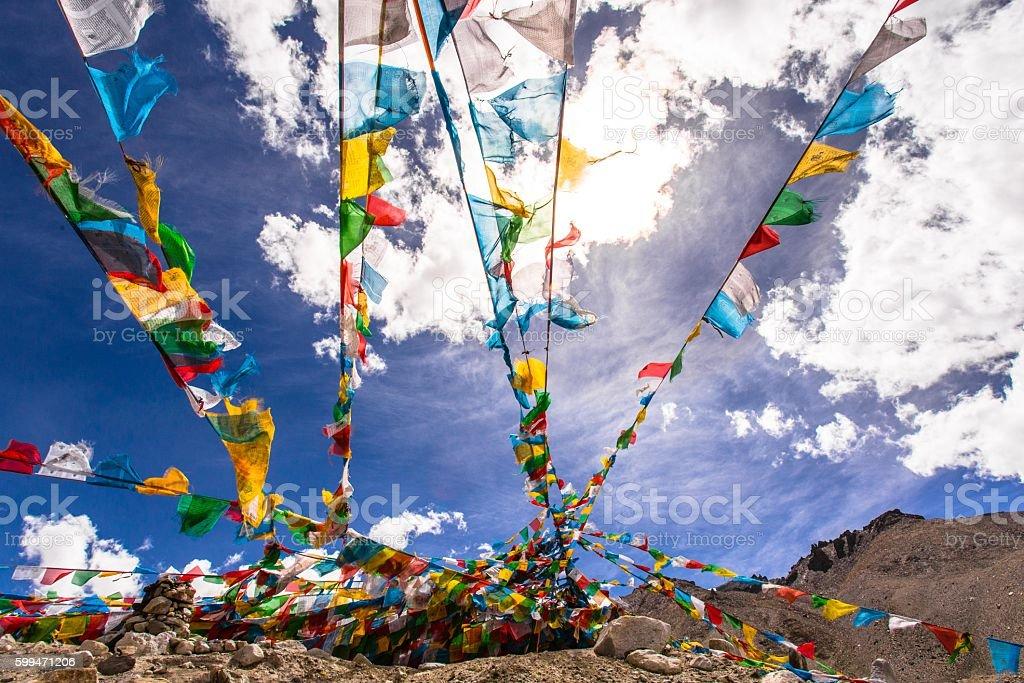 Tibet Prayer Flags stock photo