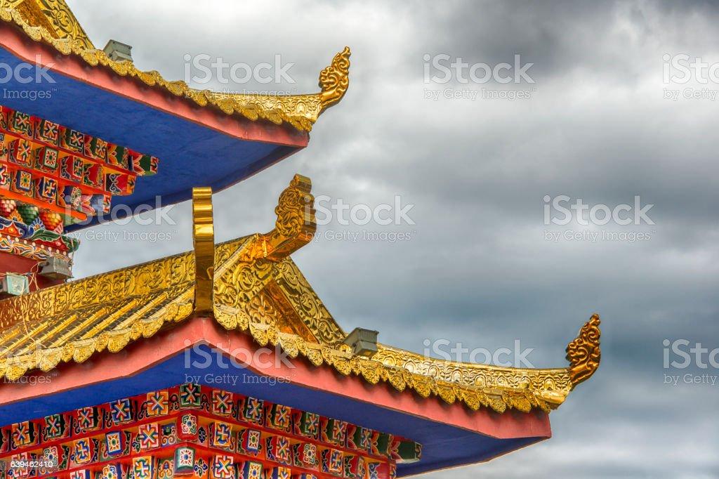 Tibetan architecture - detail of Labrang Monastery, Amdo, Tibet stock photo